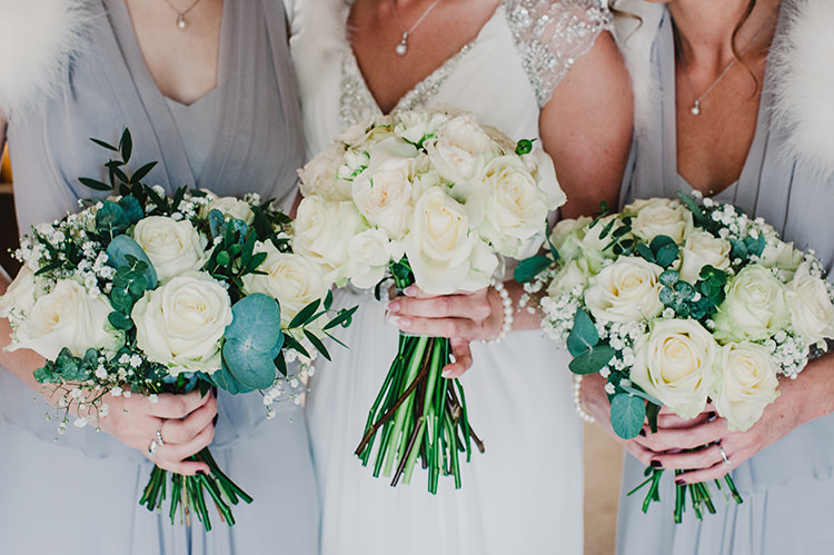 White Cream Rose Bouquets Bride Bridal Bridesmaid Glamorous Gatsby 1920s Speakeasy Winter Wedding http://www.jmcsweeneyphotography.co.uk/