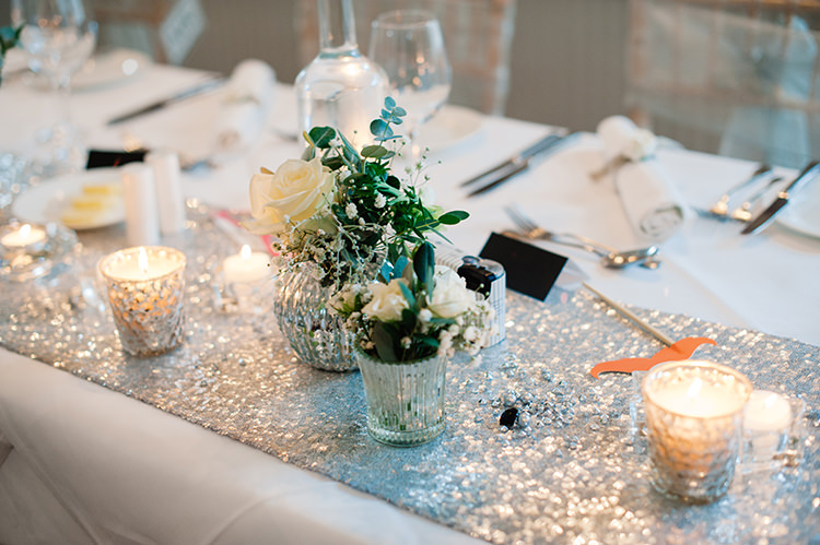 Silver Sequin Table Cloth Candles Glamorous Gatsby 1920s Speakeasy Winter Wedding http://www.jmcsweeneyphotography.co.uk/