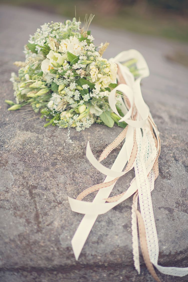 White Bouquet Bride Bridal Ribbons Beautiful British Flower Peak District Moors Wedding Ideas http://www.sarahbrabbin.co.uk/