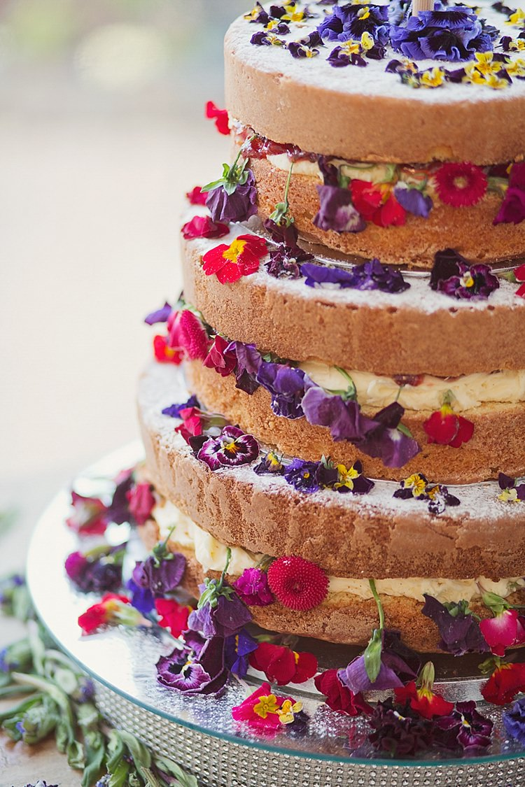 Naked Cake Sponge Layer Flowers Icing Berries Home Made Countryside Spring Wedding Sequin Gold Dress Oxford http://www.cottoncandyweddings.co.uk/