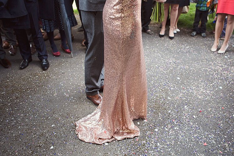 Home Made Countryside Spring Wedding Sequin Gold Dress Oxford http://www.cottoncandyweddings.co.uk/