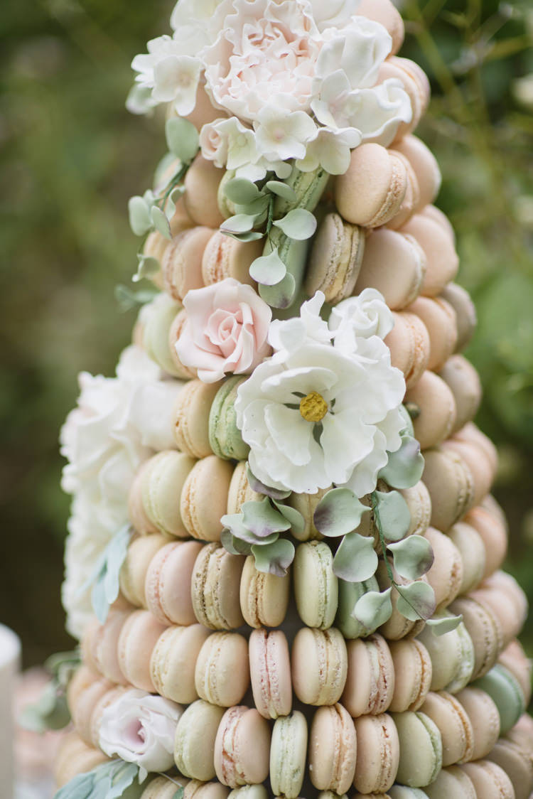 Macaron Cake Tower Pastels Flowers Quintessential English Elegant Soft Blush Blossom Wedding Ideas http://careysheffield.com/