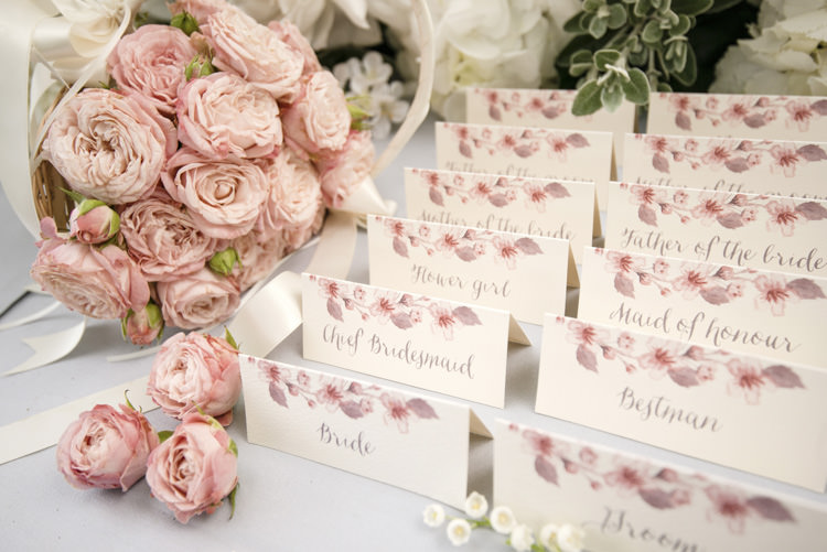 Escort Cards Place Names Stationery Quintessential English Elegant Soft Blush Blossom Wedding Ideas http://careysheffield.com/