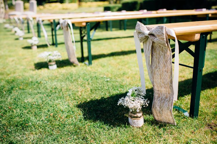 Hessian Lace Bow Pew Ends Ceremony Decor Garden Music Festival Double Decker Bus Marquee Wedding http://www.mariannechua.com/