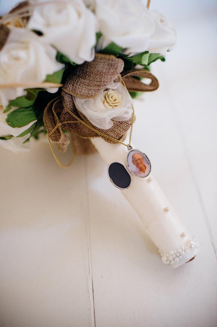Hessian Ribbon Locket Bouquet Bride Bridal Garden Music Festival Double Decker Bus Marquee Wedding http://www.mariannechua.com/