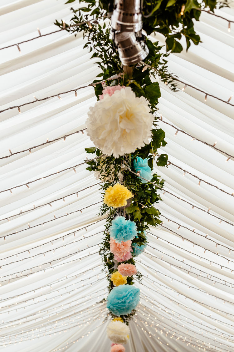 Pom Poms Fairy Lights Marquee Quirky Colourful Pastel Country Fair Wedding http://www.cassandralane.co.uk/