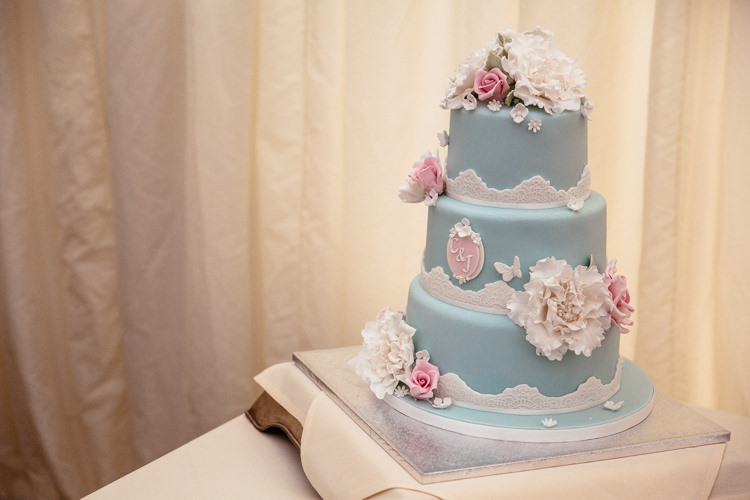 Blue White Floral Cake Quirky Colourful Pastel Country Fair Wedding http://www.cassandralane.co.uk/