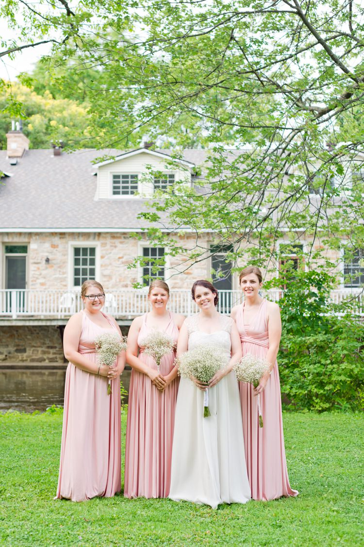 Long Pink Bridesmaid Multiway Dresses Romantic Pink Grey Outdoor Wedding Ontario http://www.nicoleamanda.ca/