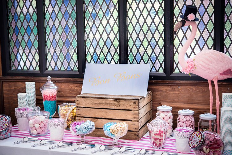 Sweetie Sweets Table Whimsical Boho Glamour Pink Blue Gold Wedding http://www.sarareeve.com/