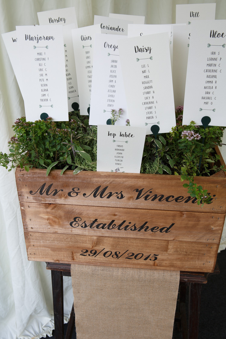 Crate Seating Table Plan Chart Herbs Travel Garden Party Farm Marquee Wedding http://sharoncooper.co.uk/