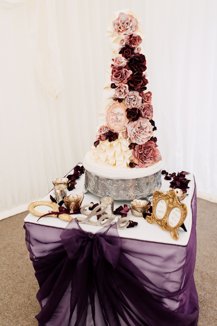 Tall Floral Cake Fairytale Whimsical Burgundy Gold Wedding http://www.victoriatyrrellphotography.com/
