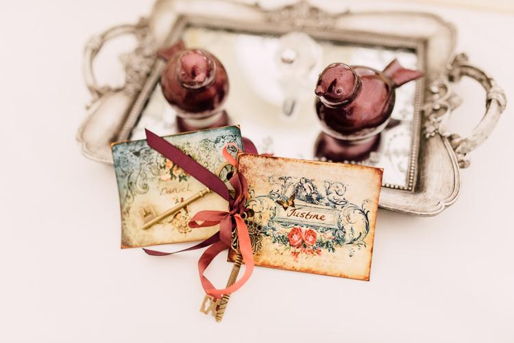 Place Names Keys Fairytale Whimsical Burgundy Gold Wedding http://www.victoriatyrrellphotography.com/