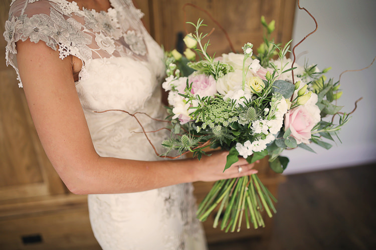 Large Bouquet Flowers Bride Bridal Pink White Green Stylish Pastel Rustic Barn Wedding http://helenrussellphotography.co.uk/
