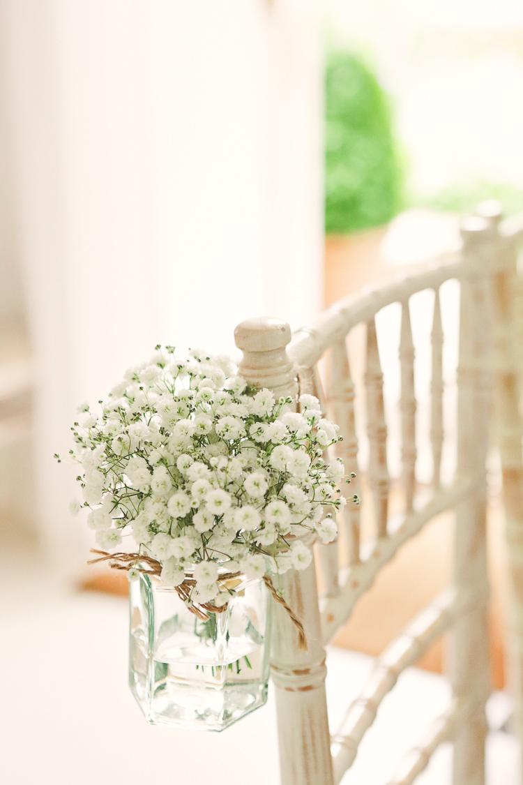 Chair Jar Gypsophila Flowers Rustic Laid Back Tipi Wedding http://helenrussellphotography.co.uk/