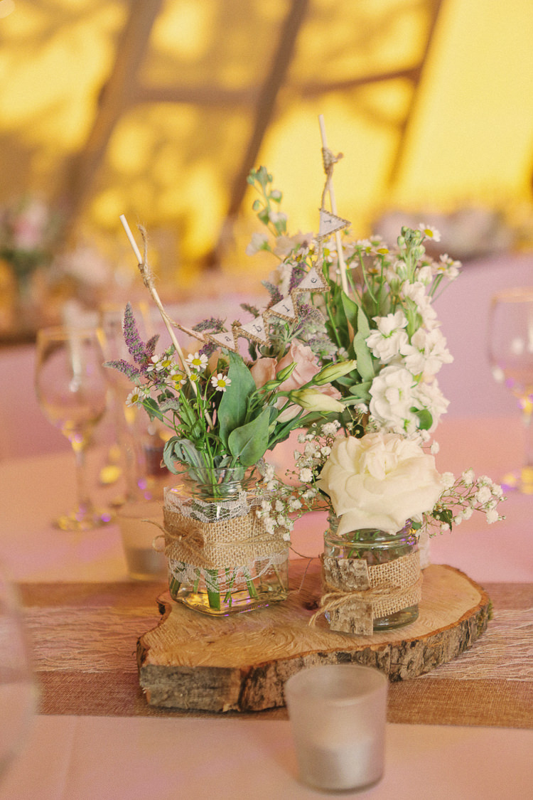 Log Bunting Flowers Jars Hessian Twine Centrepiece Rustic Laid Back Tipi Wedding http://helenrussellphotography.co.uk/