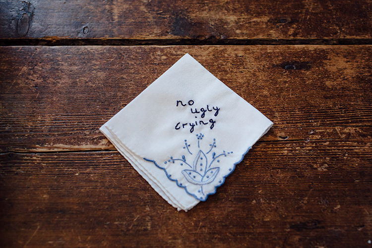 Embriodered Handkerchief Home Made Rustic Eclectic Wedding http://www.frecklephotography.co.uk/