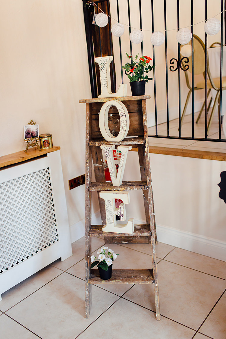 Ladder Decor Home Made Rustic Eclectic Wedding http://www.frecklephotography.co.uk/