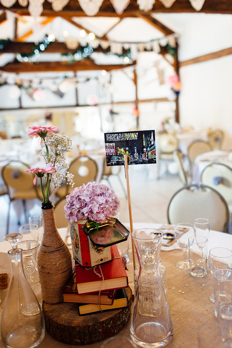 Book Flowers Bottle Centrepiece Twine Tin Log Hessian Home Made Rustic Eclectic Wedding http://www.frecklephotography.co.uk/
