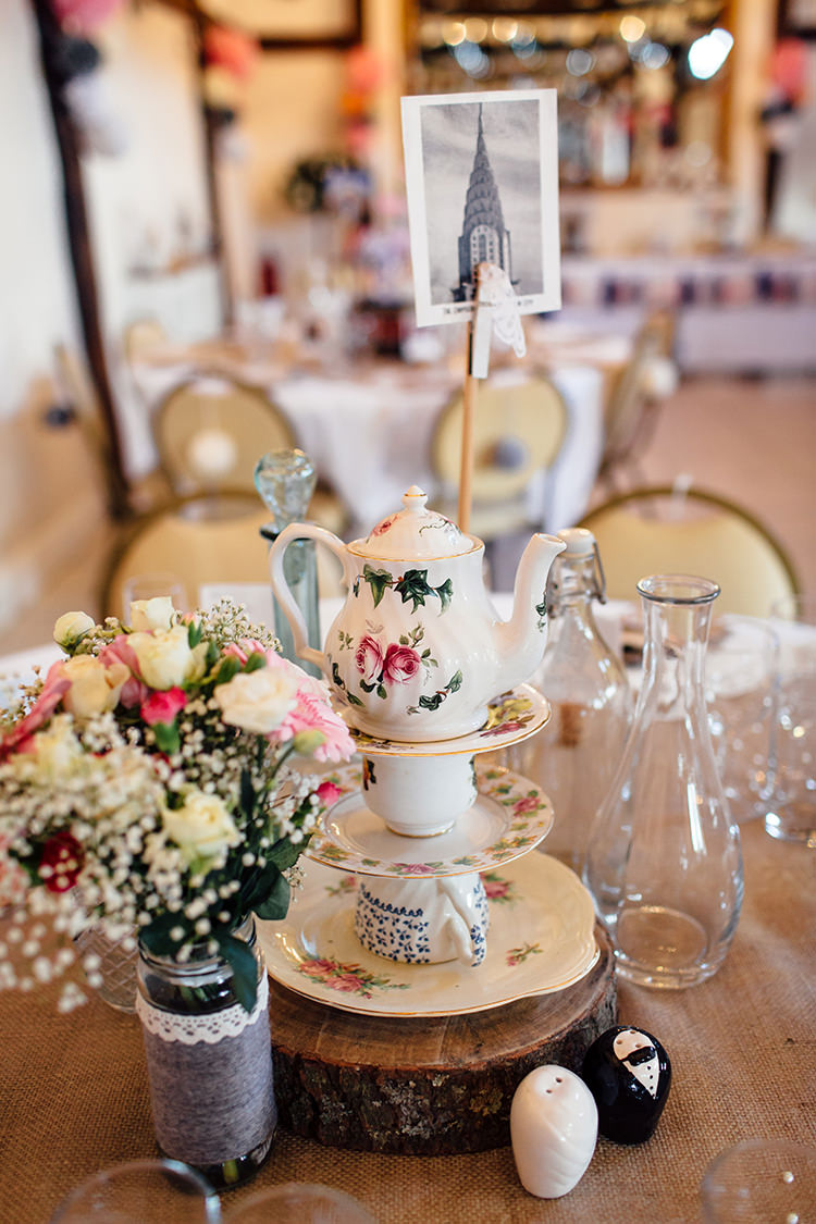 Vintage Crockery Tea Cup Tea Pot Centrepiece Home Made Rustic Eclectic Wedding http://www.frecklephotography.co.uk/