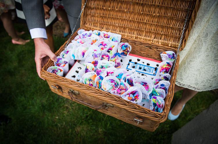 Doily Confetti Cones Basket Colourful DIY Village Fete Wedding http://jamesgristphotography.co.uk/blog/