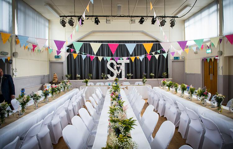 Long Tables Bunting Hall Colourful DIY Village Fete Wedding http://jamesgristphotography.co.uk/blog/