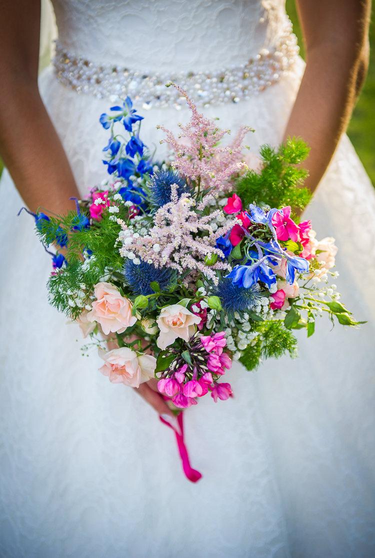 Pink Blue Bouquet Flowers Bride Bridal Colourful DIY Village Fete Wedding http://jamesgristphotography.co.uk/blog/