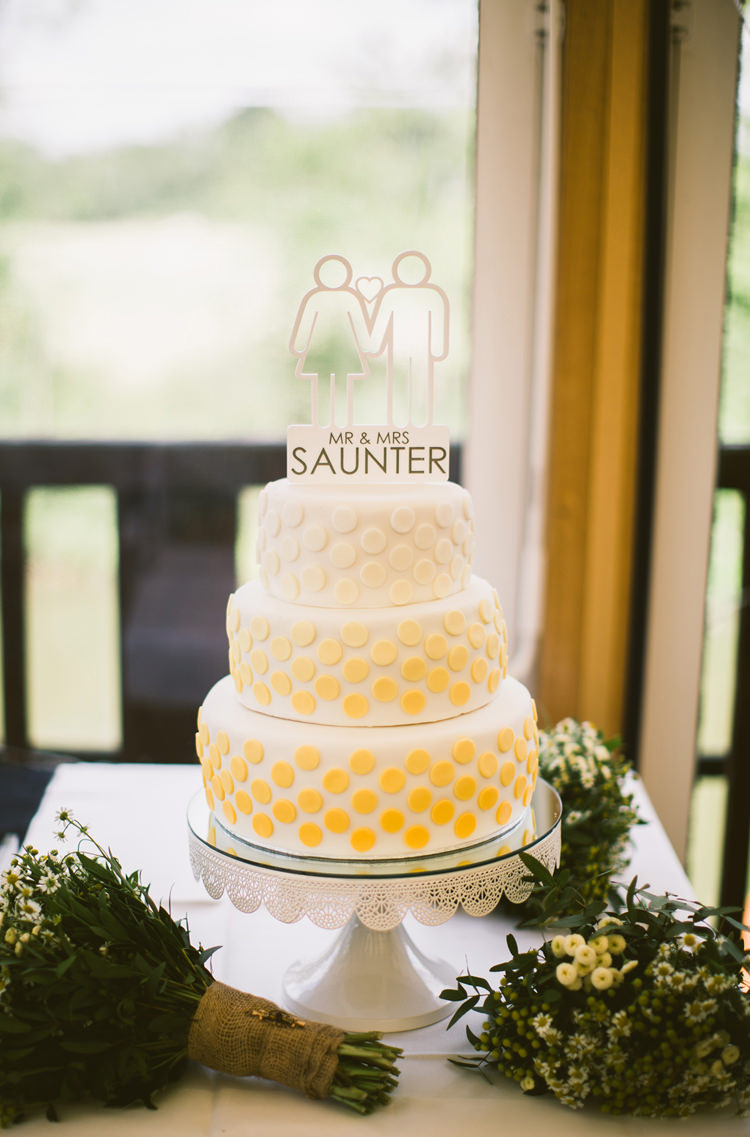 Graphic Ombre Polka Dot Dotty Cake Topper Quirky Modern Yellow Grey City Wedding http://jenmarino.com/