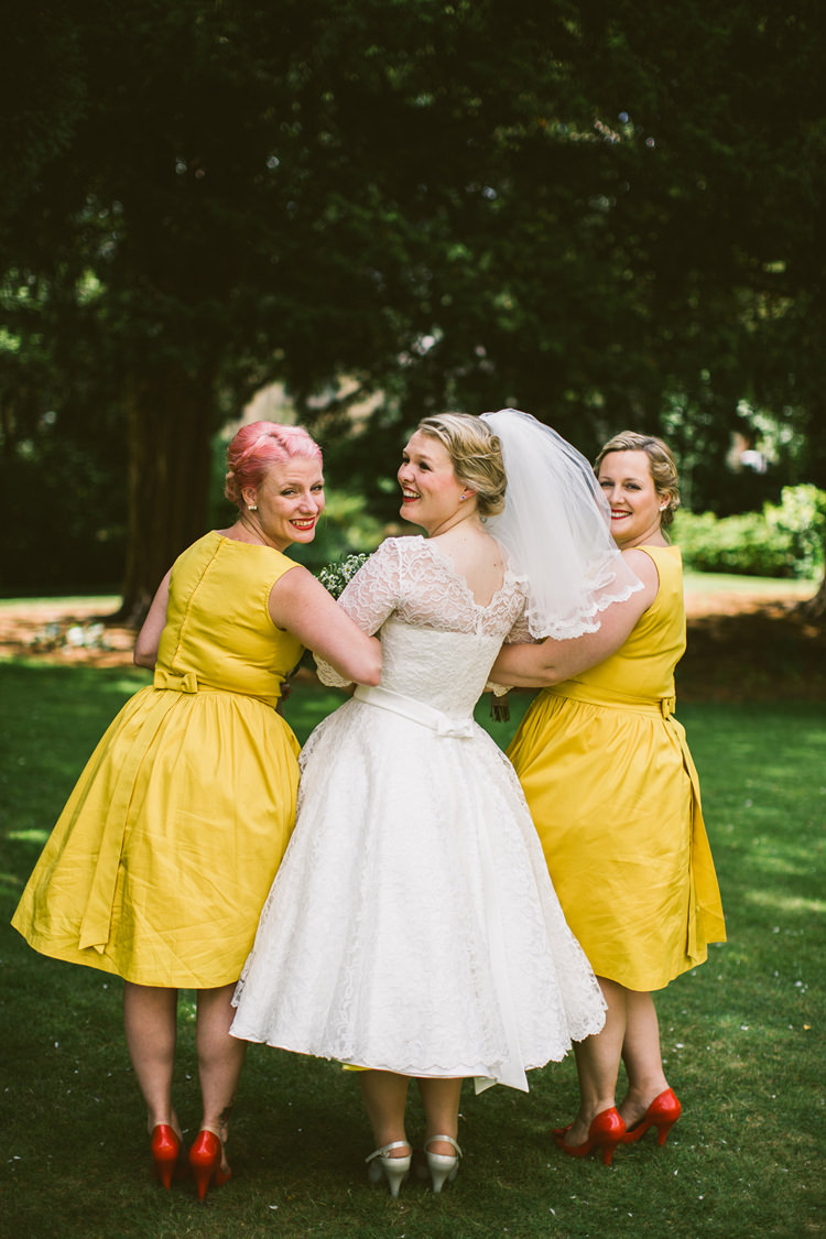 Lindy Bop Vintage 1950s Bridesmaid Dresses Short Quirky Modern Yellow Grey City Wedding http://jenmarino.com/