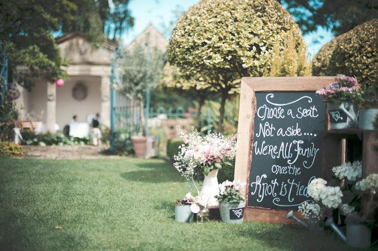 Black Board Chalk Sign Beautiful Summer Garden Party Wedding http://divinedayphotography.com/