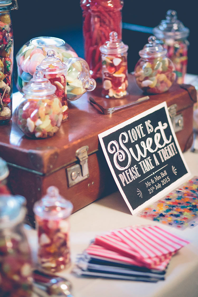 Sweets Sweetie Table Suitcase Colourful Fun London Wedding http://storyandcolour.co.uk/