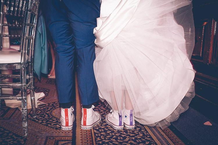 Bride Groom Custom Converse Colourful Fun London Wedding http://storyandcolour.co.uk/