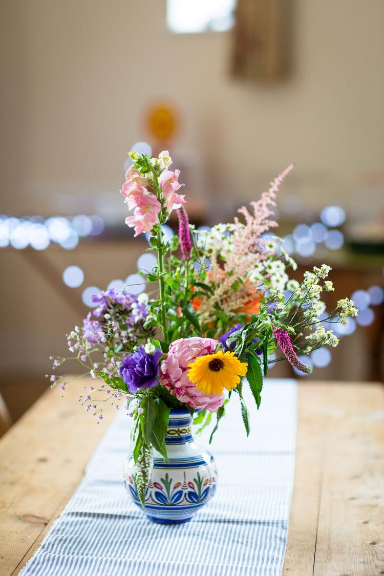 Jug Wild Flowers Stripe Cloth Runner Table Colourful DIY Village Hall Wedding http://samanthagilrainephotography.com/