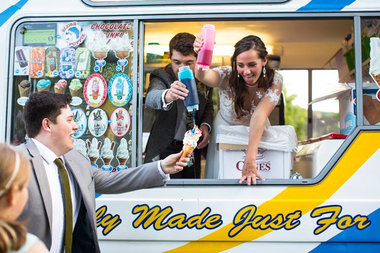Ice Cream Van Colourful DIY Village Hall Wedding http://samanthagilrainephotography.com/
