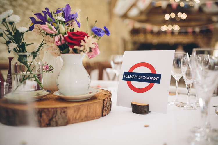 Tube Station Table Names Great British Tea Party Wedding http://www.kategrayphotography.com/