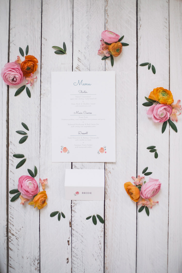 Floral Flower Stationery Menu Spring Time Chic Wedding Ideas http://graceelizabethphotography.com/