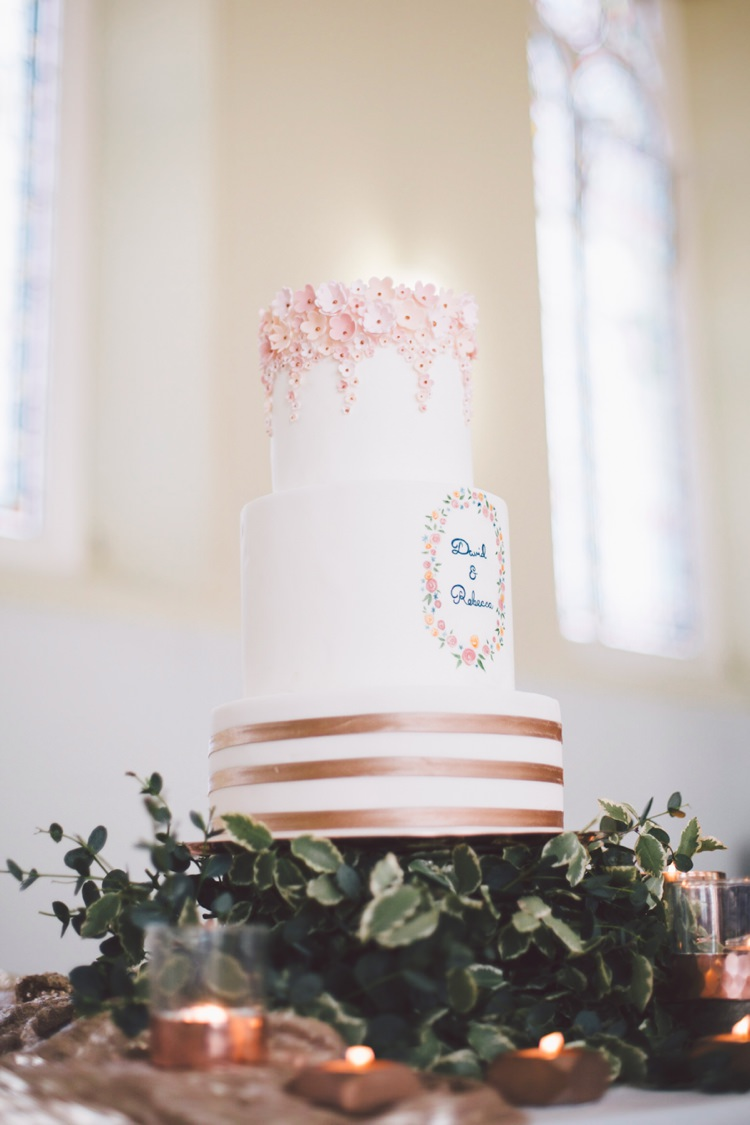 Illustrated Cake Names Florals Flowers Icing Copper Metallic Spring Time Chic Wedding Ideas http://graceelizabethphotography.com/