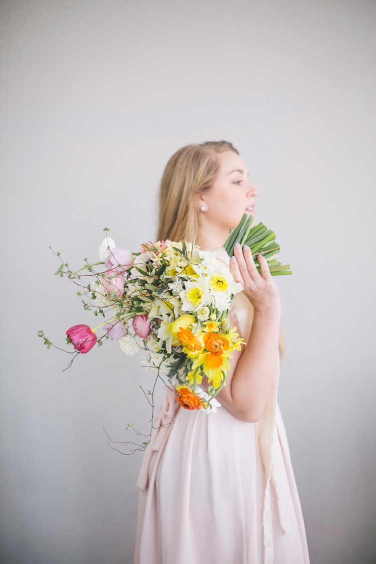 Bouquet Flowers Daffodils Tulips Yellow Pink Bride Bridal Ribbon Spring Time Chic Wedding Ideas http://graceelizabethphotography.com/