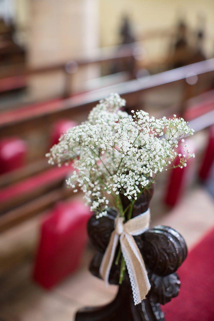 Gyp Gypsophila Baby Breath Flowers Pew Ends Natural Soft Stylish Luxe Wedding http://www.katherineashdown.co.uk/