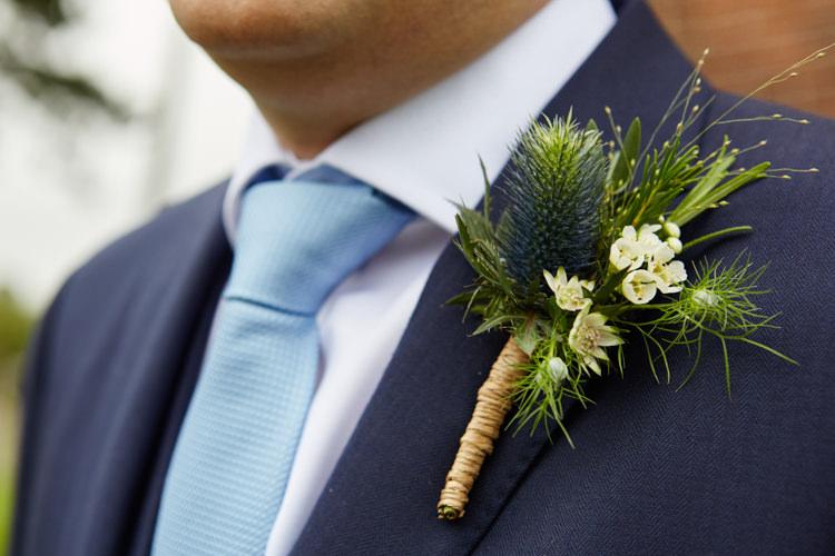 Thistle Wax Flower Buttonhole Groom Industrial Country Rustic Wedding https://www.fullerphotographyweddings.co.uk/