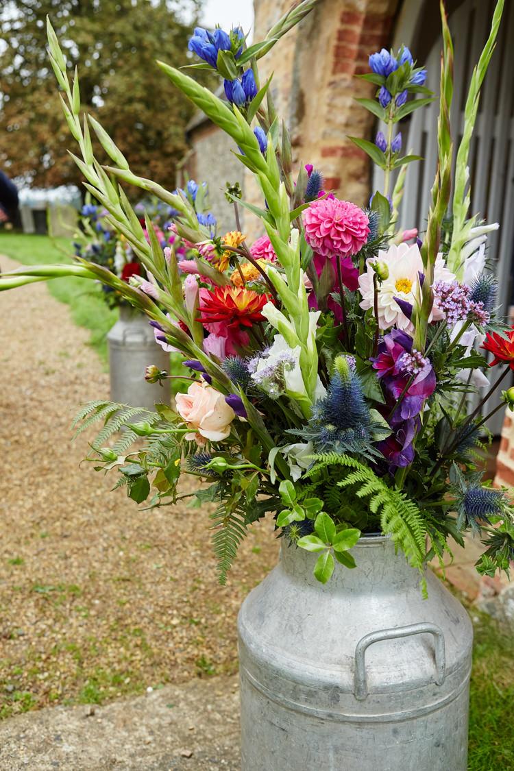 Urn Jug Flowers Church Seasonal Industrial Country Rustic Wedding https://www.fullerphotographyweddings.co.uk/