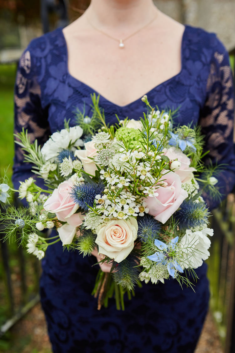 Bridesmaid Bouquet Wax Flower Daisy Thistle Pretty Industrial Country Rustic Wedding https://www.fullerphotographyweddings.co.uk/