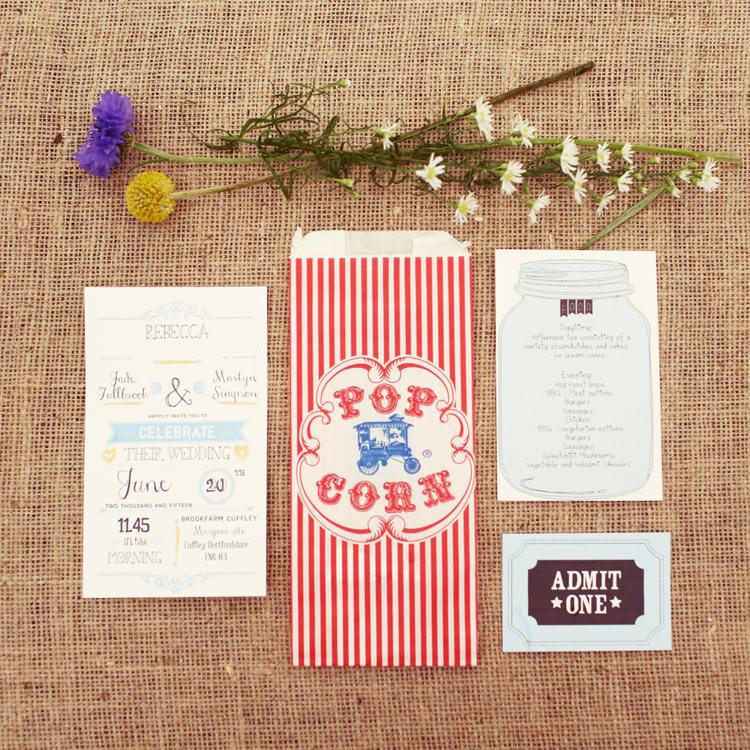Illustrated Stationery Invitations Jar Mismatched Fairground Woodland Wedding http://www.rebeccaweddingphotography.co.uk/