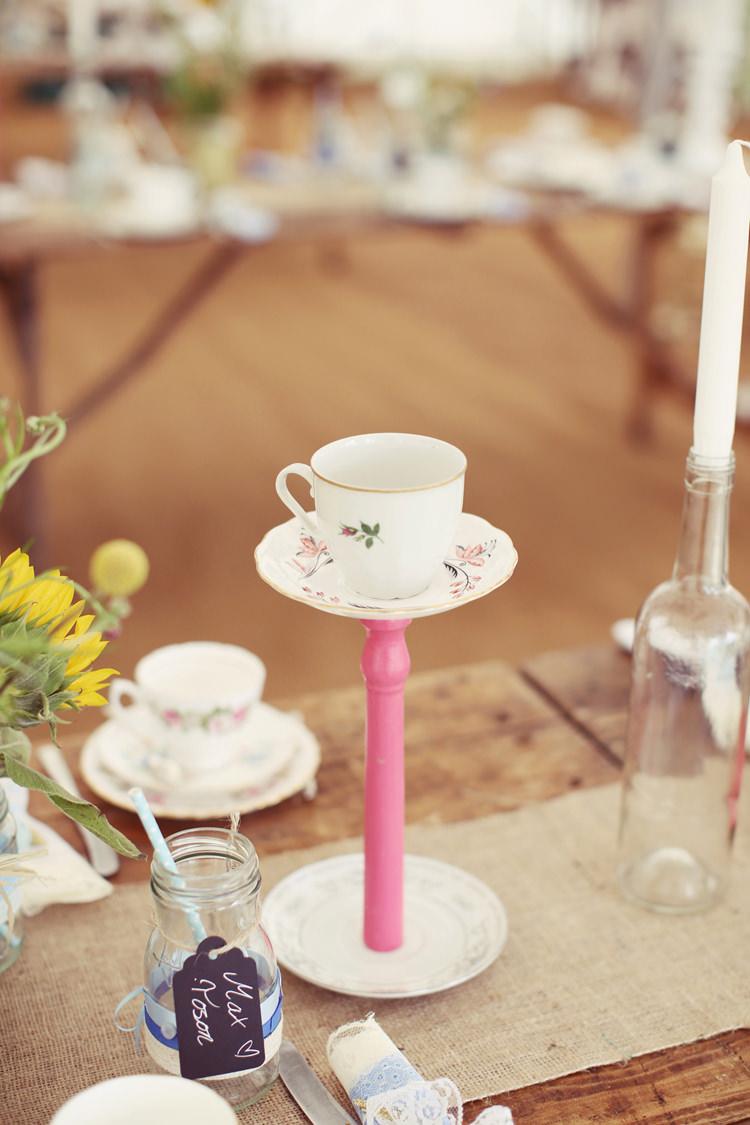 Tea Cup Candles Mismatched Fairground Woodland Wedding http://www.rebeccaweddingphotography.co.uk/