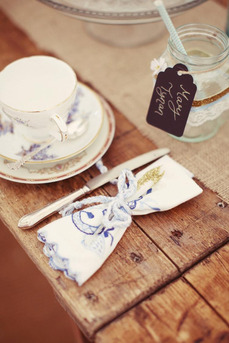 Napkins Tea Cups Hessian Decor Tables Mismatched Fairground Woodland Wedding http://www.rebeccaweddingphotography.co.uk/