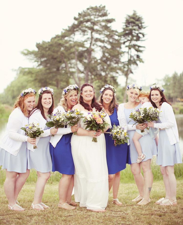 Blue Bridesmaid Dresses Short New Look Flower Crowns Mismatched Fairground Woodland Wedding http://www.rebeccaweddingphotography.co.uk/
