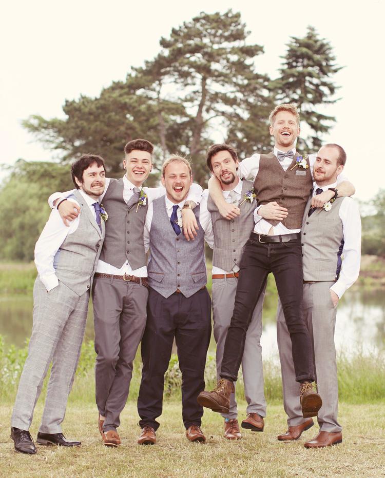 Groomsmen Waistcoats Chinos Ties Mismatched Fairground Woodland Wedding http://www.rebeccaweddingphotography.co.uk/
