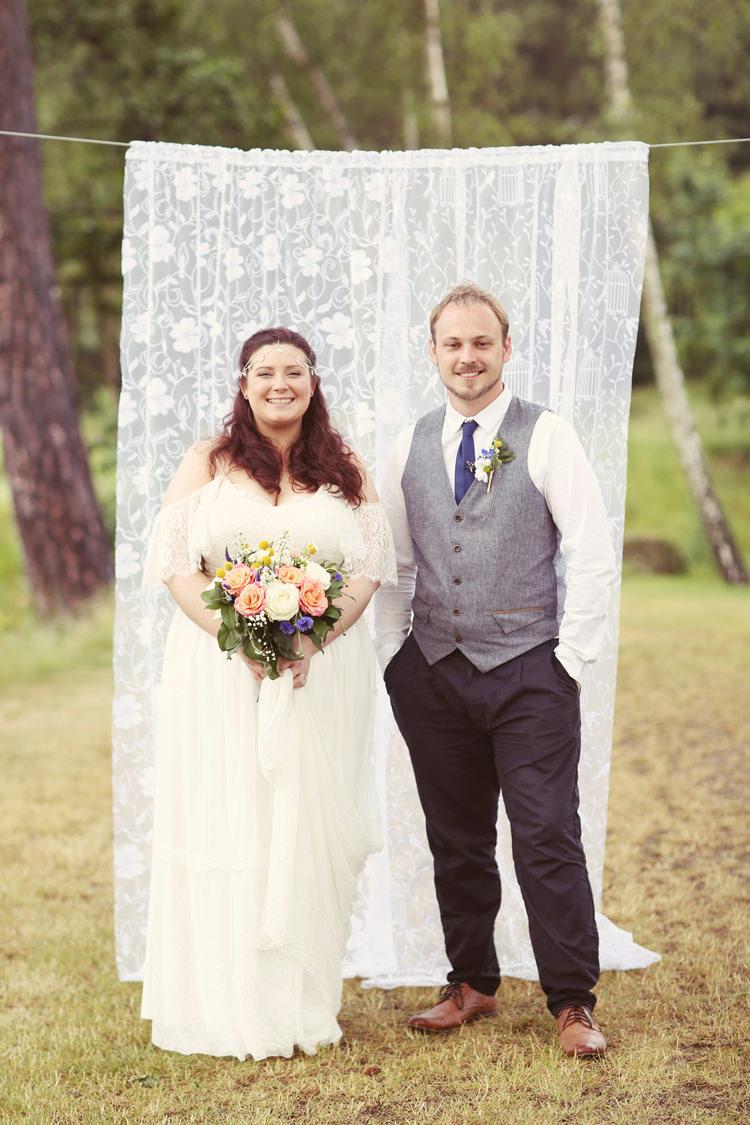 Lace Fabric Backdrop Mismatched Fairground Woodland Wedding http://www.rebeccaweddingphotography.co.uk/
