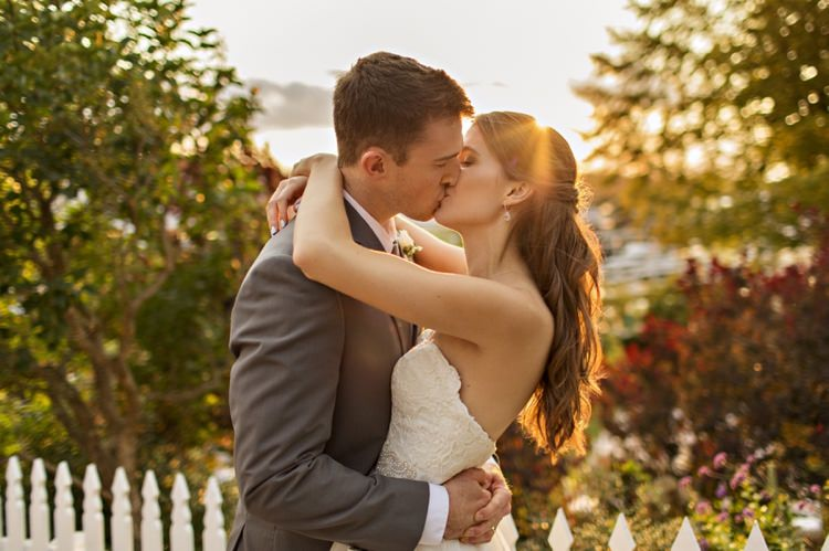 Bride Groom Sunset Strapless Sweetheart Bridal Gown Loose Curls Hairstyle Grey Suit Elegant Classic Outdoor Wedding Washington http://www.courtneybowlden.com/