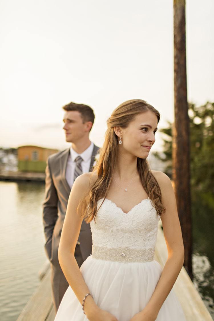 Bride Strapless Sweetheart Bridal Gown Embellished Sash Loose Curls Hairstyle Groom Grey Suit Grey Stripe Tie Elegant Classic Outdoor Wedding Washington http://www.courtneybowlden.com/