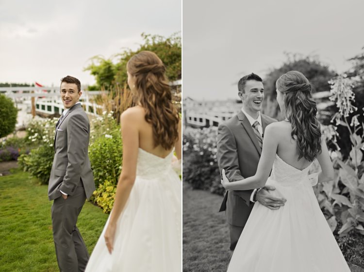 Bride Groom First Look Outdoors Strapless Sweetheart Bridal Gown Elegant Classic Outdoor Wedding Washington http://www.courtneybowlden.com/